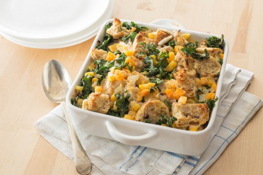PICT RECIPE Savory Bread Pudding with Kale and Butternut Squash - USDA