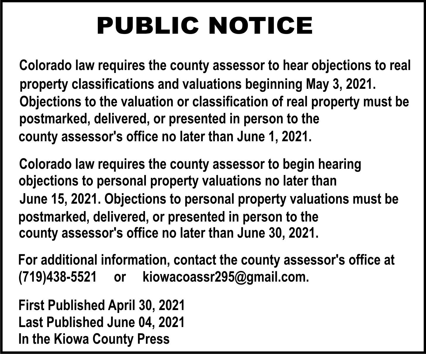 AD 2021-05 Public Notice - Kiowa County Assessor