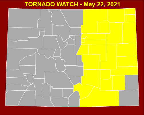 MAP Tornado Watch in eastern Colorado for May 22, 2021