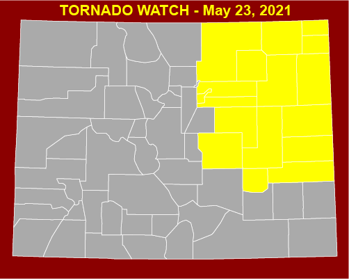 MAP Tornado Watch in eastern Colorado for May 23, 2021