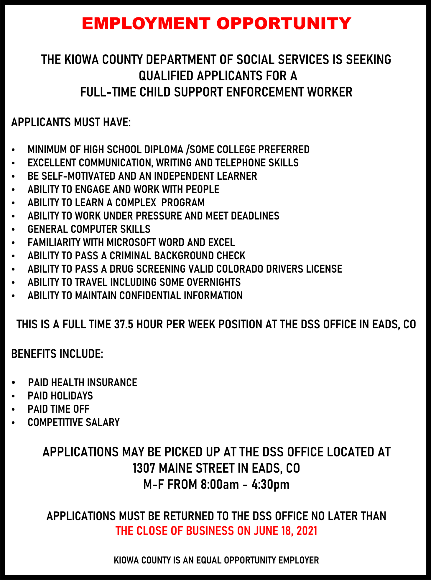 AD 2021-06 Help Wanted - Child Support Enforcement