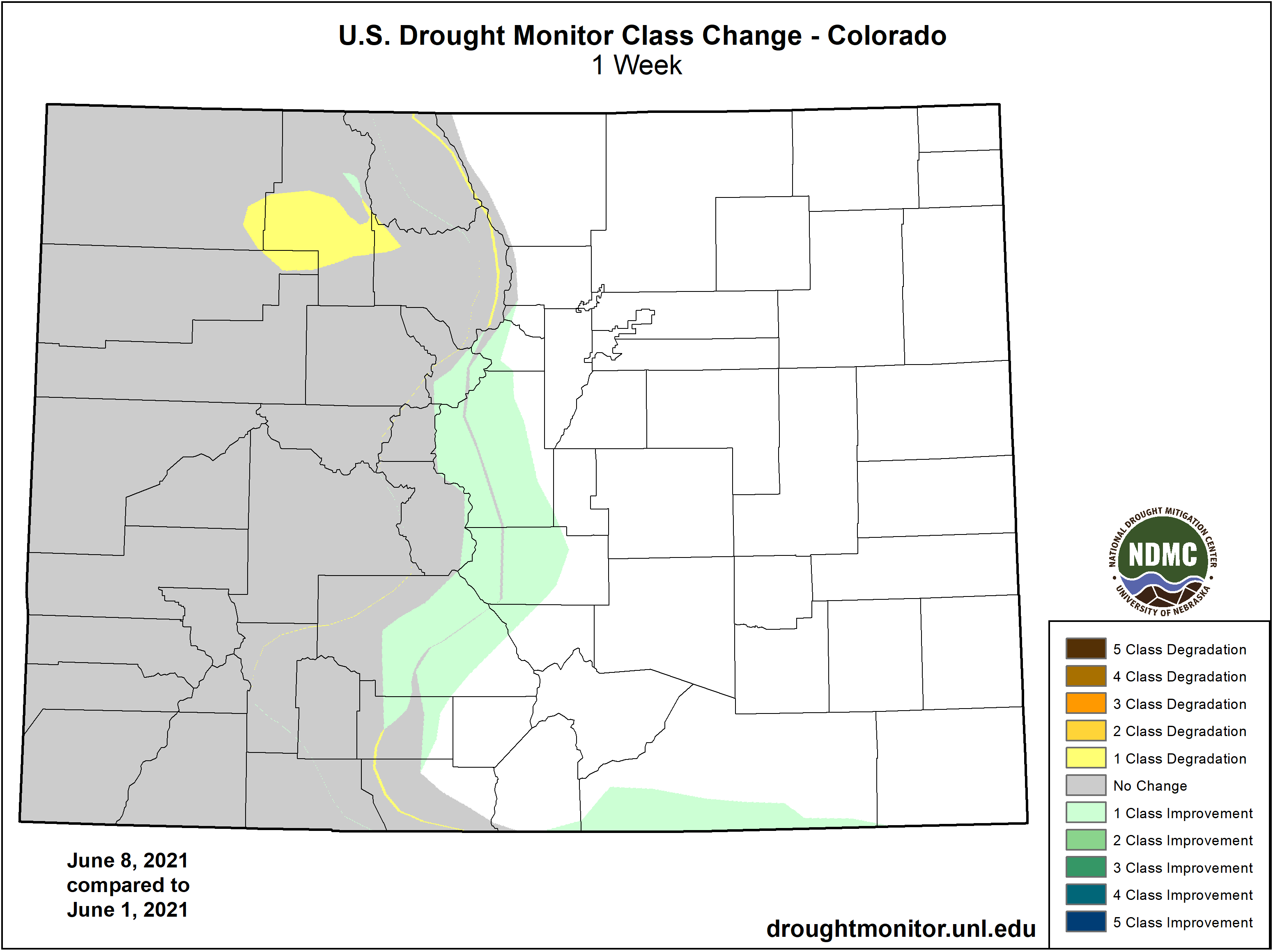 MAP Drought change between June 1 and June 8, 2021 - NDMC