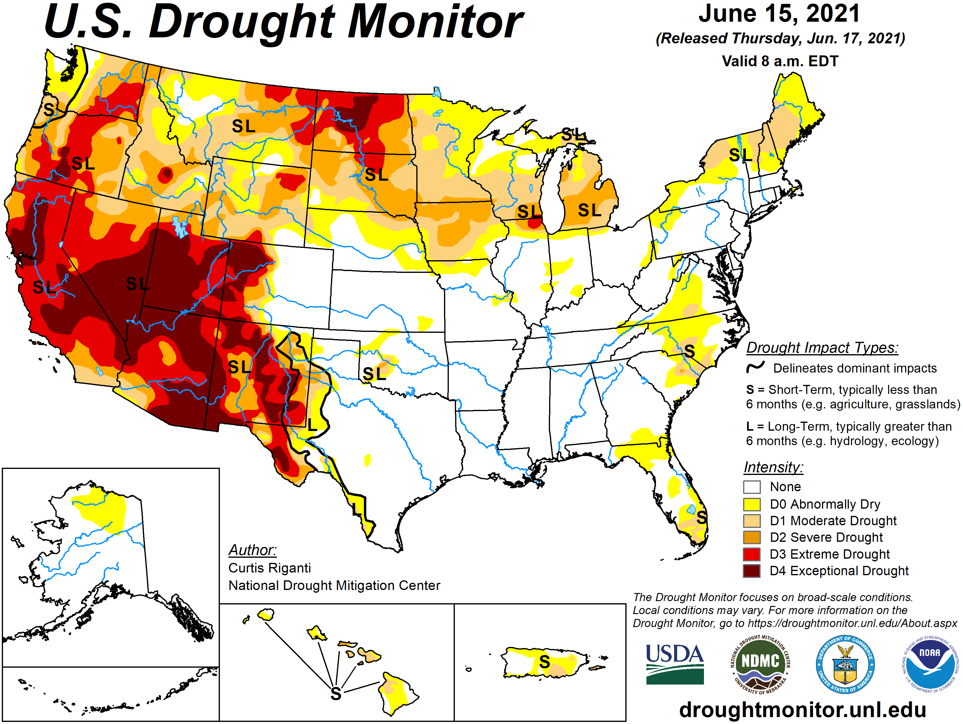 MAP United States drought conditions for June 15, 2021 - National Drought Mitigation Center