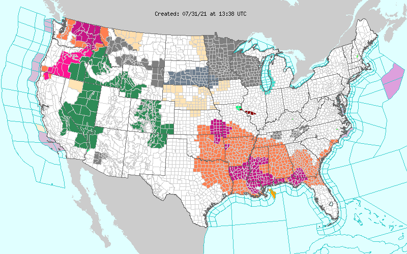 MAP United States weather watches and warnings for July 31, 2021 - NWS