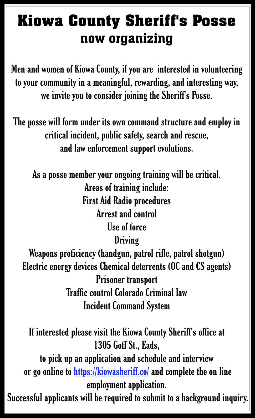 AD 2021-10 Kiowa County Sheriff's Posse
