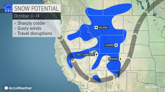 MAP Snow potential for October 11-14, 2021 - AccuWeather