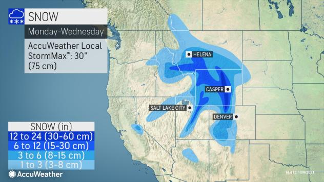 MAP Snowfall amounts across the western United States October 11-13, 2021 - AccuWeather
