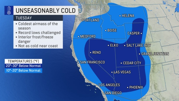 MAP Unseasonably cold temperatures expected October 12, 2021 - AccuWeather
