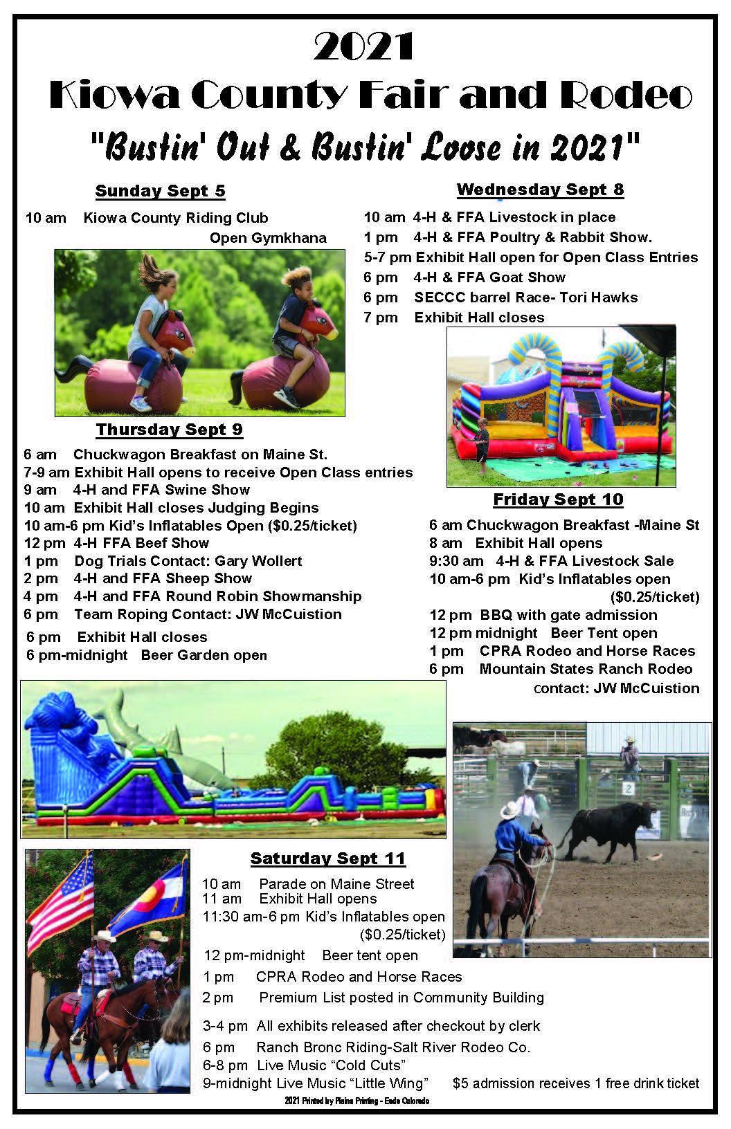 POSTER 2021 Kiowa County Fair events schedule