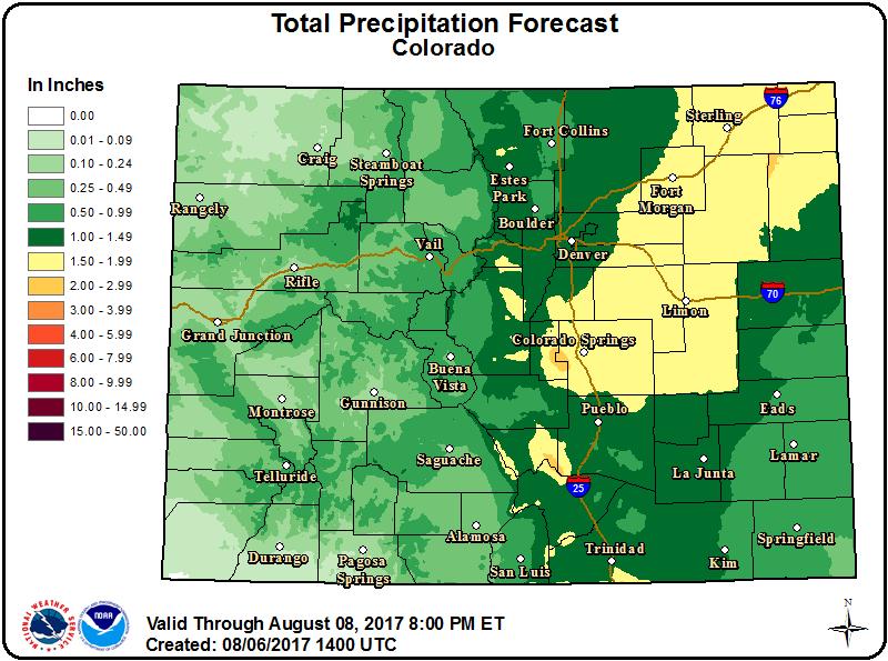 Weather Outlook - August 6, 2017 - Colorado Precipitation
