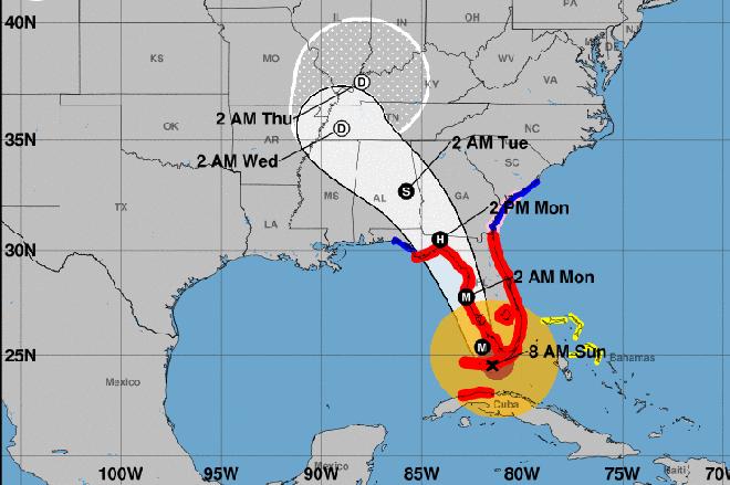 MAP - Hurricane Irma Path - September 10, 2017
