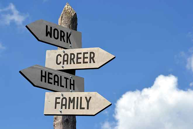 PROMO Living - Sign Work Career Health Family - iStock