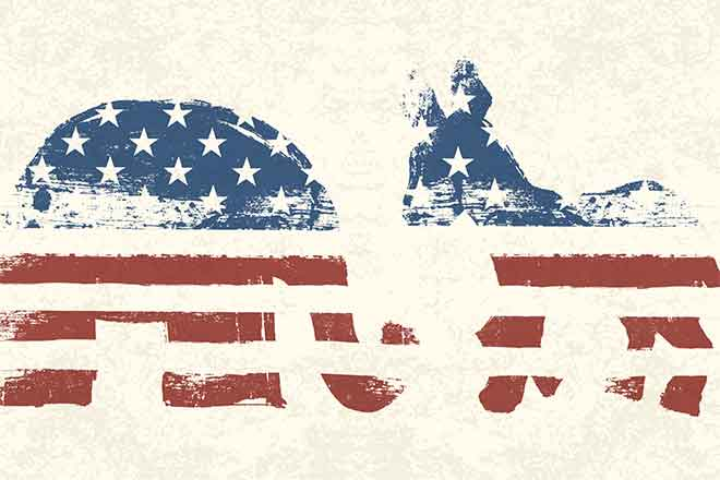 PROMO 660 x 440 Politics - Party Symbols as Flag No Words - iStock