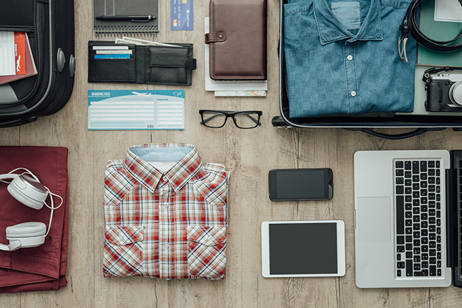 PROMO 660 x 440 Travel - Shirt Suitcase Computer Glasses Phone Wallet Camera - iStock