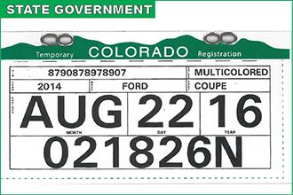 New Colorado temporary registration tags