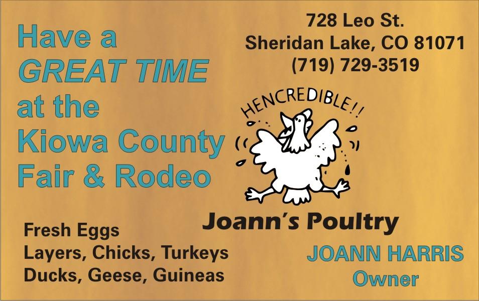 PICT 2019 Kiowa County Fair Sponsor - Joann's Poultry