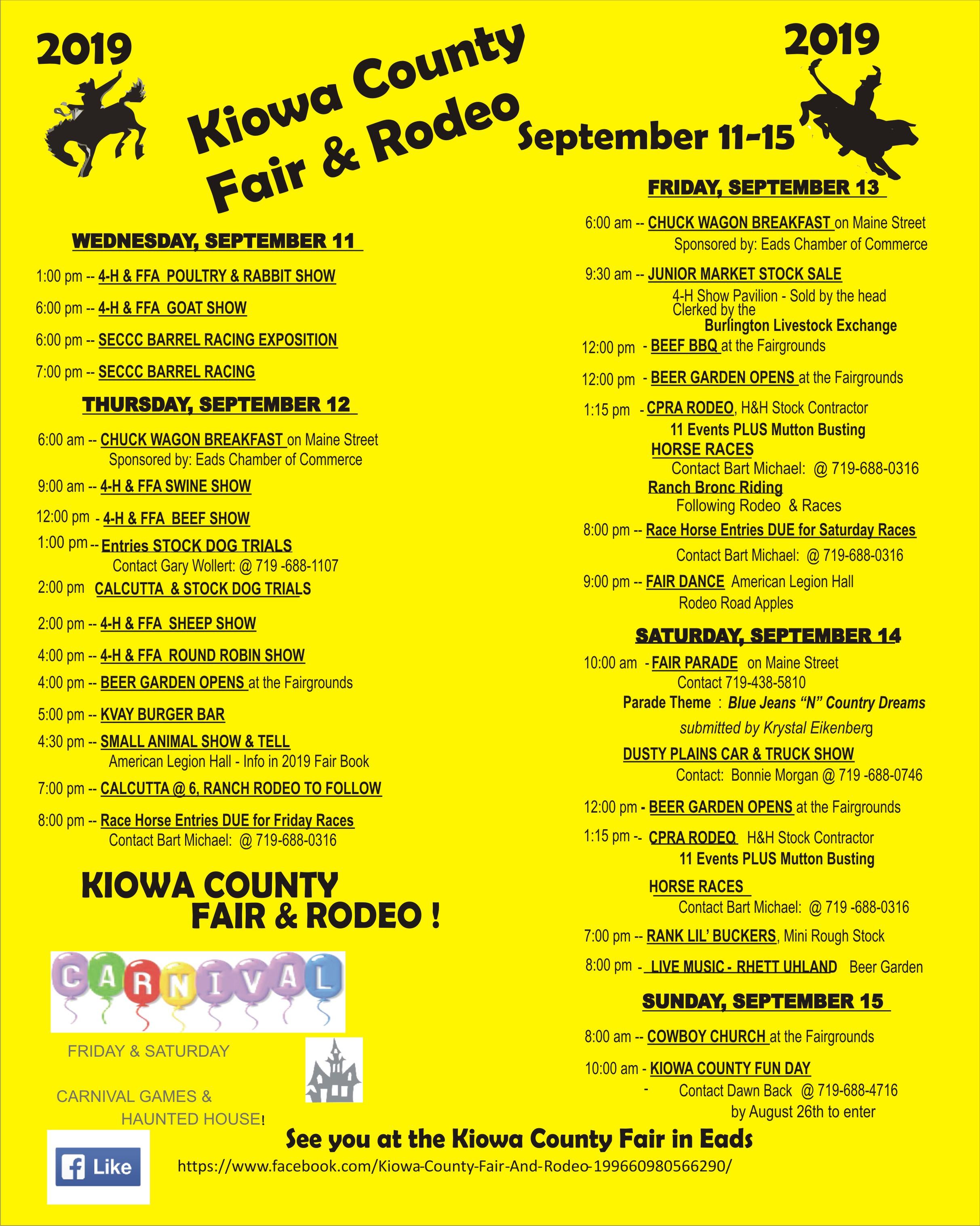 2019 Kiowa County Fair flyer