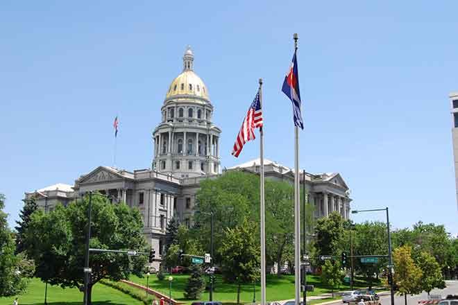 PROMO 64J1 Government - Colorado Capitol Building Flags - iStock - japhillips