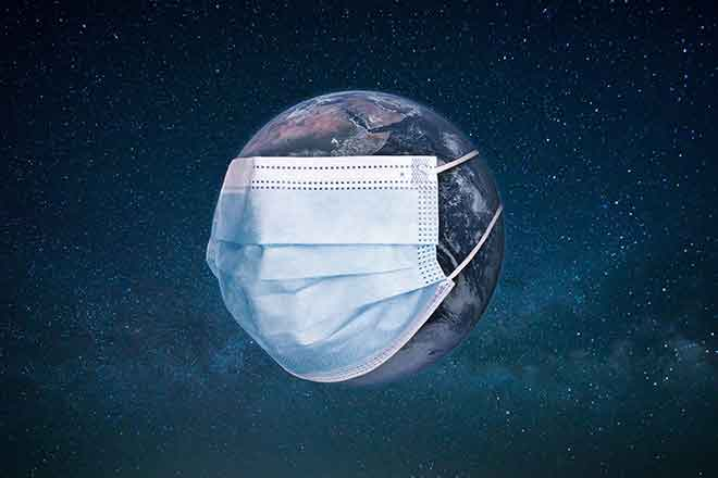 PROMO Health - Surgical Face Mask Planet Earth COVID-19 Coronavirus - iStock - Ales_Utovko