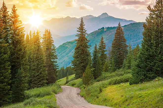 PROMO Outdoors - Mountains Trees Road Landscape Sun - iStock - welcomia