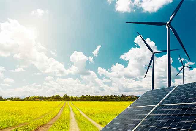 Energy - Solar Panel Wind Turbine Field Agriculture Farm - iStock - undefined underfined