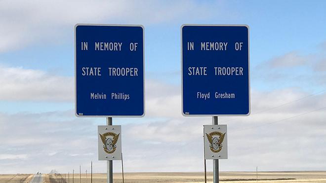 Roadside Signs Honor Fallen State Patrol Members