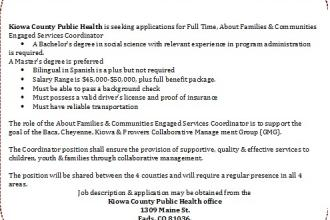 Employment Opportunity with Kiowa County Public Health