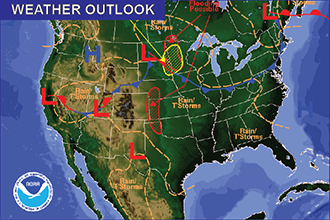 Weather Outlook – the Week Ahead: Tornadoes, Large Hail Monday