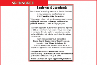 Employment Opportunity - Kiowa County Dept. of Social Services