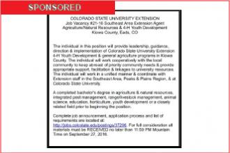 CSU Hiring Kiowa County Extension Agent