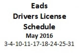Drivers License Schedule - May