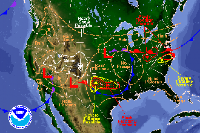 National Weather Map for April 28, 2016