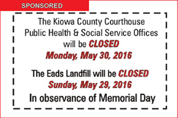 Kiowa County Courthouse Closed for Memorial Day