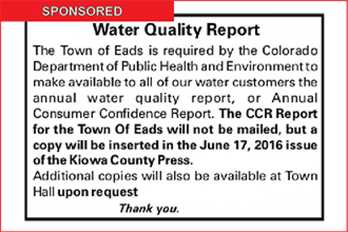Eads Water Quality Report Available