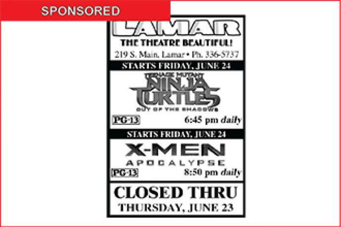 Lamar Theatre Ad - June 17, 2016