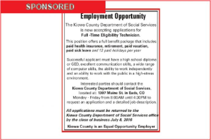 Employment Opportunity - Kiowa County DSS