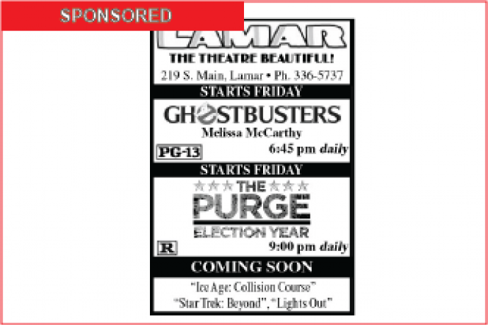 Lamar Theatre Ad - August 5, 2016