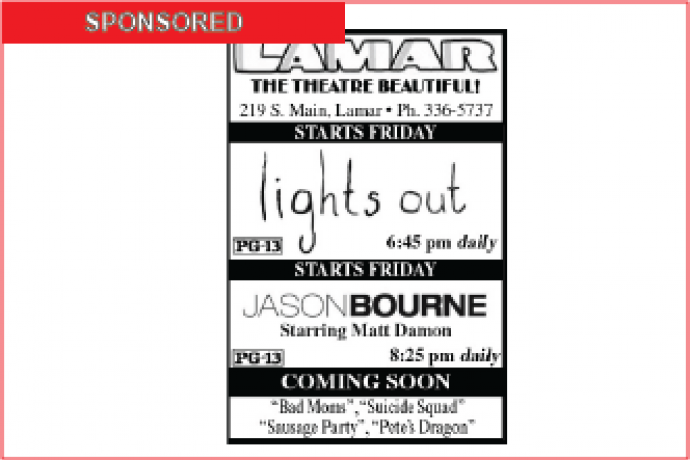 Lamar Theatre Ad - August 19, 2016