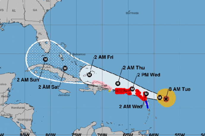 MAP - Hurricane Irma Path - September 6, 2017