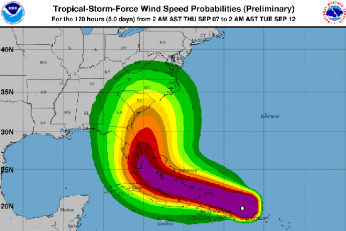 MAP Hurricane Irma Wind Speed September 7, 2017