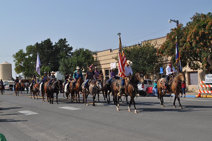 PICT Horses and US Flag - 2017 Kiowa County Fair Parade - Roland Sorensen