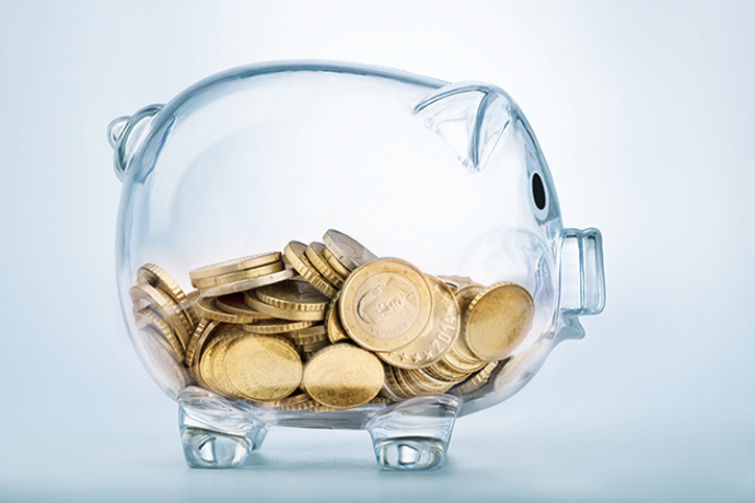 PROMO - 330 x 220 Finance Glass Piggy Bank with Coins