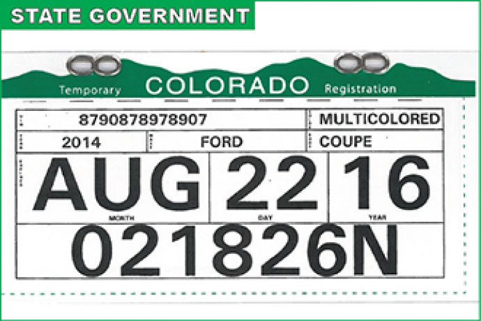 New Colorado temporary registration tags