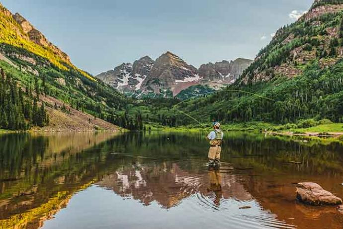 PROMO Outdoors - Fishing Fisherman Aspen Maroon Bells Mountains Water Trees - iStock - Matt Dirksen