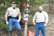 PICT CPW Officers with tree baited for bear poaching - CPW