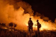PICT Night fire fighting activity at the Pine Gulch Fire