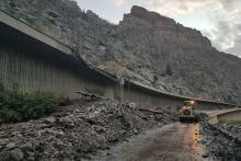 PICT 64J1 Damage to a portion of Interstate 70 through Glenwood Canyon - CDOT