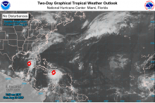 MAP Tropical storms approaching the southern United States - NOAA