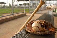 PROMO 660 x 440 Sports - Baseball Bat Glove Dugout Bench - iStock