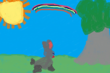 PROMO 660 x 400 Childcare - Child Drawing Rabbit Tree Sun Rainbow - possible Wikimedia